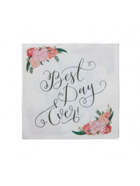 "20 serviettes en papier à fleurs ""Best day ever"""