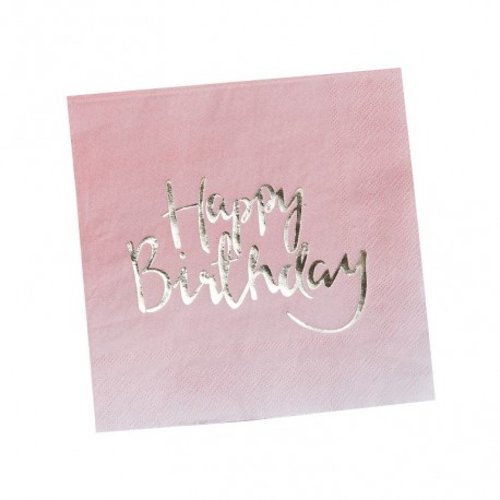"20 serviettes en papier roses ""Happy Birthday"""