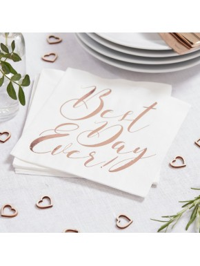 "20 serviettes en papier  ""Best day ever""- rose gold"