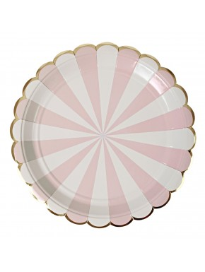 8 Assiettes- rayures roses